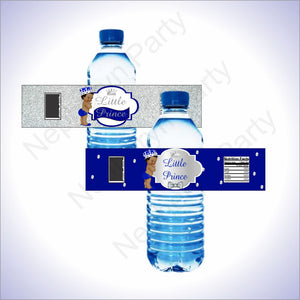 Royal Blue & Silver Little Prince Baby Shower Water Bottle Labels
