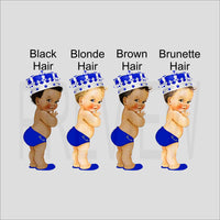 Royal Prince Baby Shower Invite - Blue, Silver