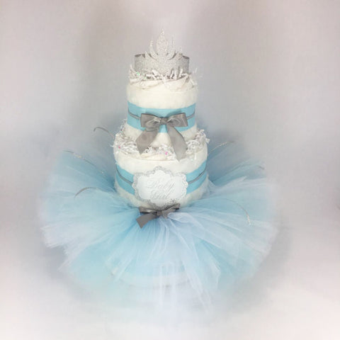 Winter Wonderland Tutu Diaper Cake Centerpiece