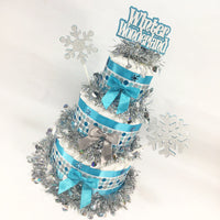 Blue & Silver Winter Wonderland Diaper Cake Centerpiece
