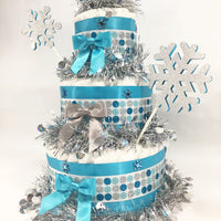 Snowflake Winter Wonderland Diaper Cake Centerpiece