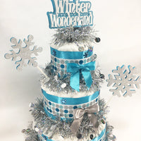Glitter Winter Wonderland Diaper Cake Centerpiece