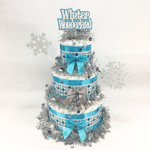 Gender Neutral Winter Wonderland Diaper Cake Centerpiece