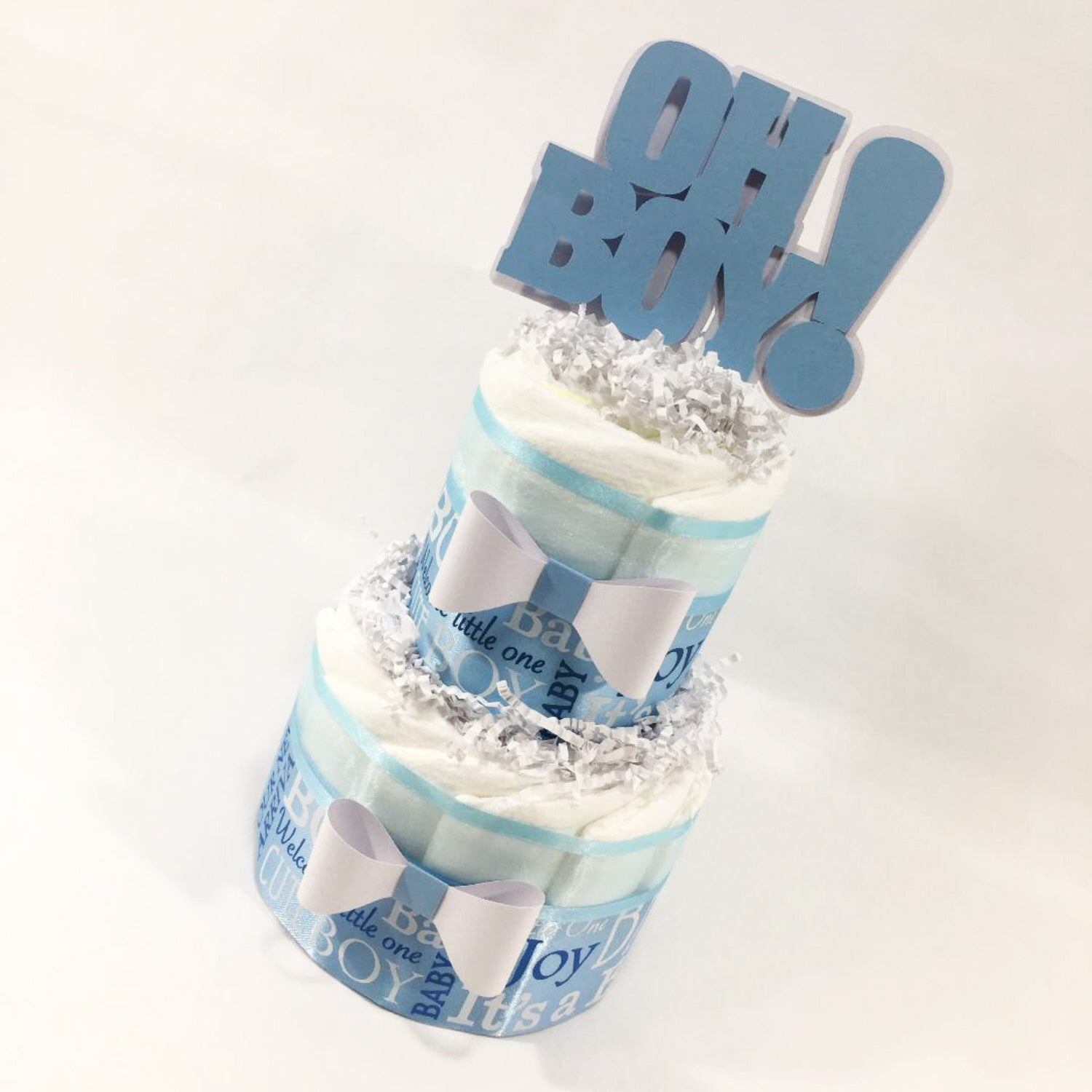 Oh Boy 2-Tier Diaper Cake Centerpiece - Blue, White