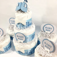 Welcome Baby Boy Diaper Cake Centerpiece Set - Blue & White