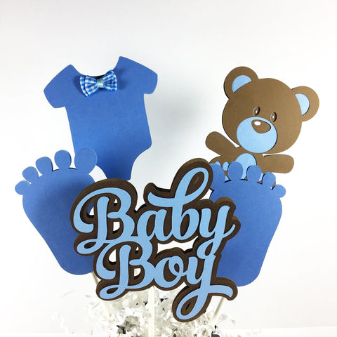 Baby Bear Boy Centerpiece Sticks