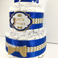 Blue & Gold Prince Diaper Cake With Baby Boy