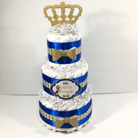 Royal Blue & Gold Little Prince Baby Shower Diaper Cake