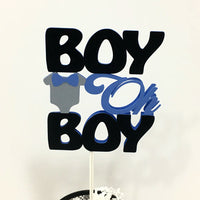 Blue & Black Boy Oh Boy Cake Topper