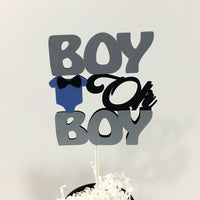 Gray, Blue, & Black Boy Oh Boy Cake Topper