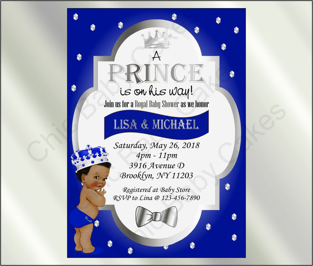 Royal Blue & Silver Prince Baby Shower Invite, Curly
