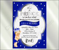 Royal Blue & Silver Prince Baby Shower Invite, Blonde