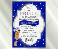 Royal Blue & Silver Prince Baby Shower Invite, Brown
