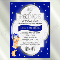 Royal Blue & Silver Prince Baby Shower Invite, Brunette