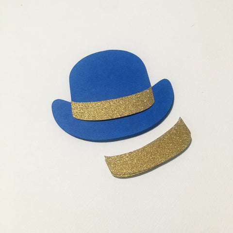 Bowler Hat Cutouts - Craft Royal Blue, Gold