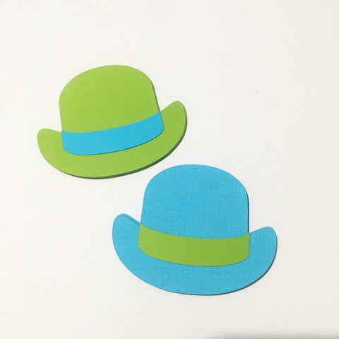 Bowler Hat Cutouts - Turquoise, Lime