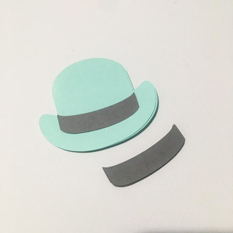 Bowler Hat Cutouts - Mint Blue, Gray