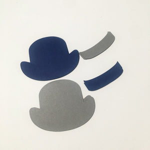 Bowler Hat Cutouts - Navy, Gray