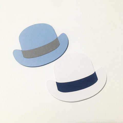 Bowler Hat Cutouts - Navy, Light Blue, White