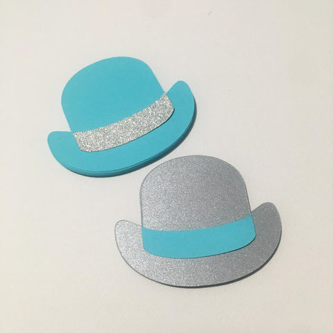 Bowler Hat Cutouts - Sky Blue, SIlver