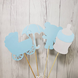 Blue & Gray Boy Baby Shower Centerpiece Sticks