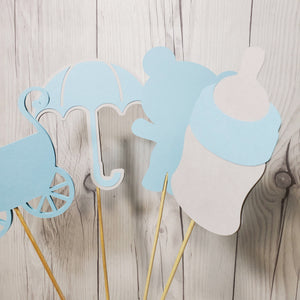 Boy Baby Shower Centerpiece Sticks - Blue, Gray