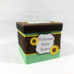 Mint, Yellow, & Brown Sunflower Raffle Ticket Box