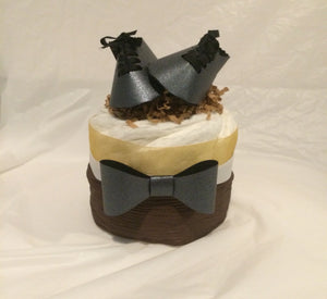 Bow Ties and Dress Shoes Mini Diaper Cake Set