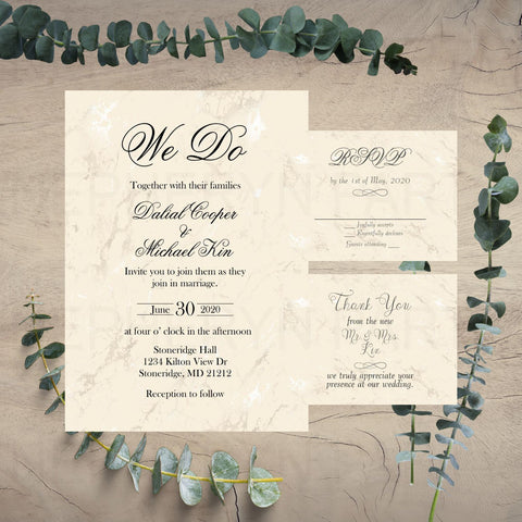 Champagne Wedding Invitation Set
