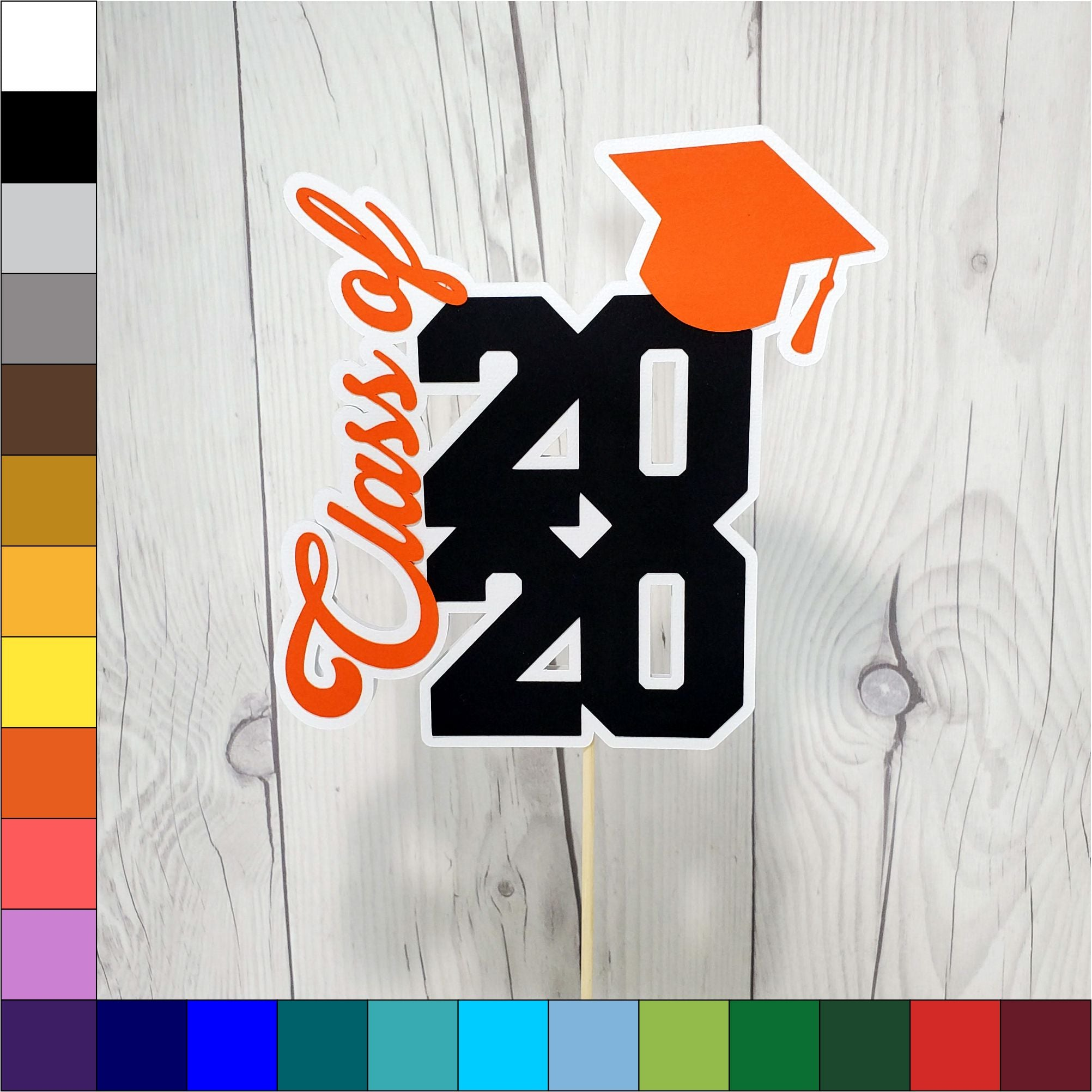 Class of 2020 Graduation Cake Topper - Orange, Black