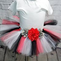 Coral, Black,  and Gray Tutu Skirt