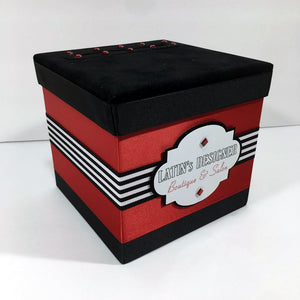 Red, Black & White Custom Raffle Ticket Box