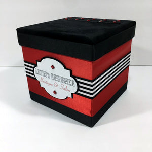 Red & Black Salon Raffle Ticket Box