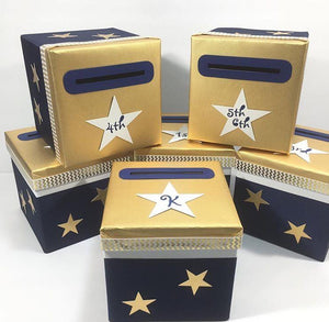 Navy & Gold Star Raffle Ticket Box