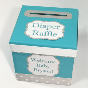 Teal & Gray Diaper Raffle Ticket Box