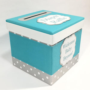 Teal and Gray Diaper Raffle Ticket Box