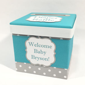 Teal & Gray Baby Shower Diaper Raffle Ticket Box