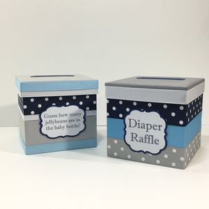 Light Blue & Navy Baby Shower Diaper Raffle Box