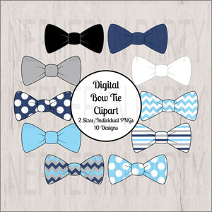 Navy & Light Blue Little Man Bow Tie Clipart