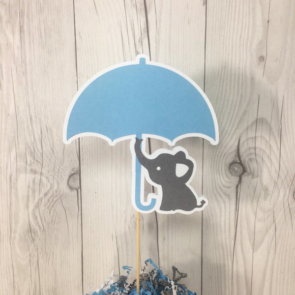 Blue & Gray Elephant Umbrella Baby Shower Cake Topper