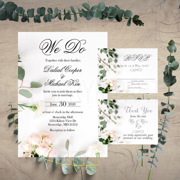 Eucalyptus & Blush Rose Wedding Invite, Rsvp and Thank You