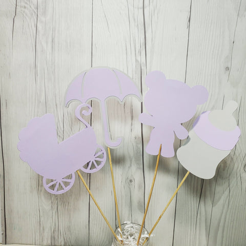 Girl Baby Shower Centerpiece Sticks - Lilac, Gray