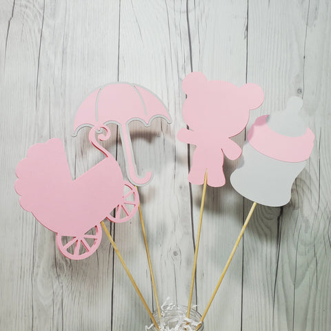 Girl Baby Shower Centerpiece Sticks - Pink, Gray