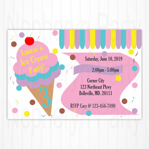 Ice Cream Party Birthday Party Invitation
