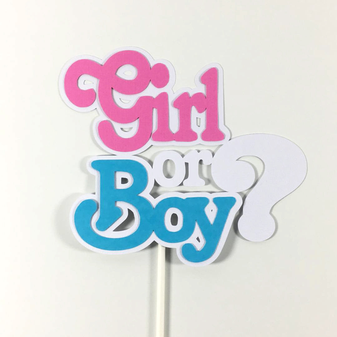 Gender Reveal Cake Toppers and Centerpiece Sticks ...