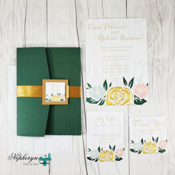 Green and Gold Wedding Invitation Set
