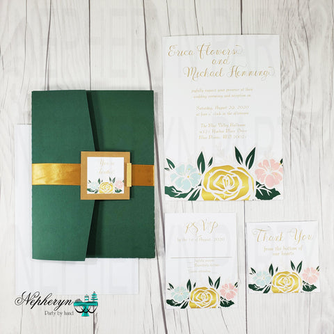 Gold, Mint, Coral, & Green Floral Wedding Invitation Set