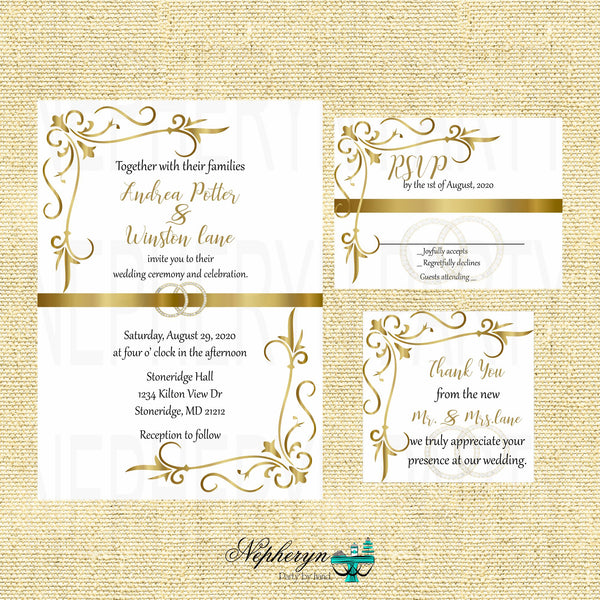 Gold & White Elegant Wedding Invite, RSVP Cards, & Thank You Notes