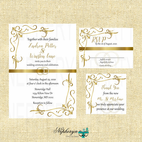 Gold & White Elegant Wedding Invitation Set