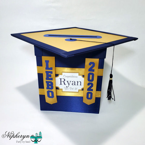 Navy and Gold Graduation Card Box